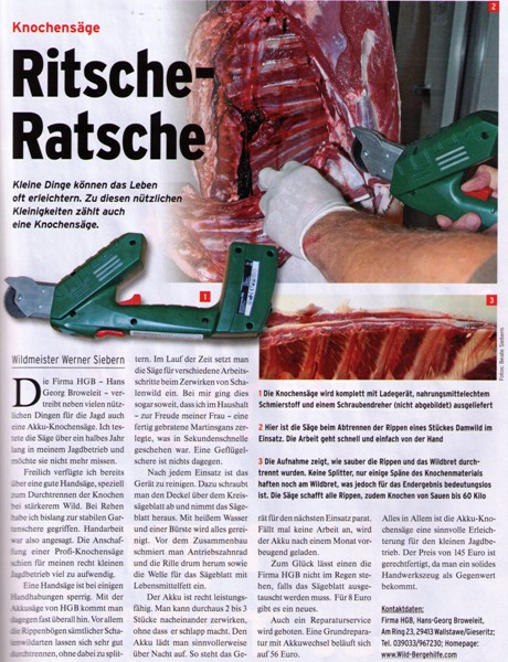 Deutsche Jagdzeitung - Knochensäge Test